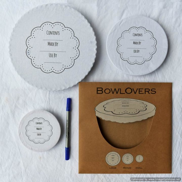 Set of Three Write On Wash Out Cotton BowlOvers Bowl Covers