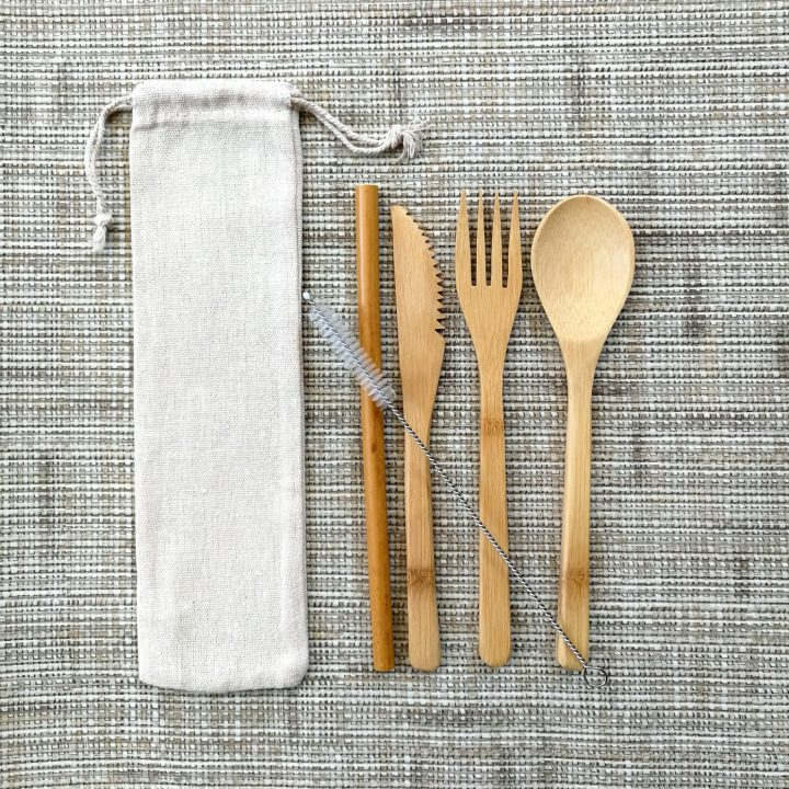Bamboo Travel Cutlery and Straw Set