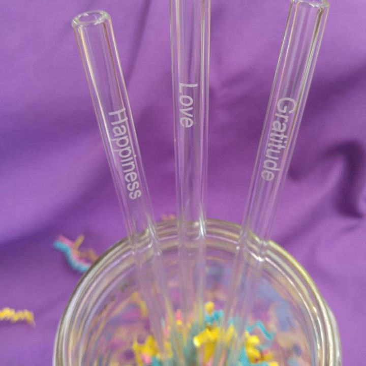 GlassDharma Inspirational Glass Straw – Gratitude